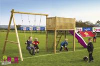 BnB Wood schommel met speeltoren Goal met paarse glijbaan-Afbeelding 2