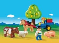 PLAYMOBIL 1.2.3 6620 Enfants avec charrette et animaux-Image 1