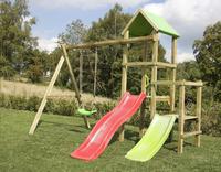 BnB Wood portique Little Eden Duo avec toboggans rouge et Lime-Image 2