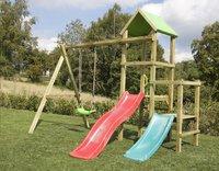 BnB Wood schommel Little Eden Duo met rode en turquoise glijbaan-Afbeelding 2