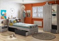 Chambre 3 éléments Tempo lit + bureau + armoire 2 portes-Image 2
