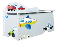 Coffre à jouets véhicules avec stickers