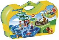 Playmobil 1.2.3 6792 Meeneemdierentuin met waterpartij-Vooraanzicht