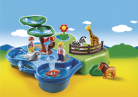 Playmobil 1.2.3 6792 Zoo transportable avec bassins aquatiques-Avant