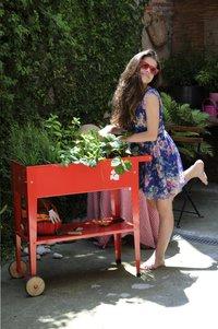 Table de culture Trolley 75 x 35 cm rouge-Image 2