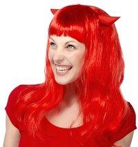 Pruik duivel lang rood