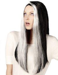 Perruque de sorcière blanc/noir
