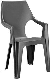 Allibert chaise de jardin Dante - dossier haut gris graphite