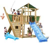 Houten speeltoren De Hut met boot en blauwe glijbaan-Vooraanzicht