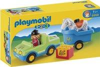 Playmobil 1.2.3 6958 Wagen met paardentrailer-Vooraanzicht