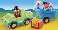 Playmobil 1.2.3 6958 Wagen met paardentrailer-Afbeelding 1