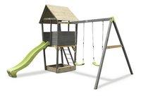 EXIT portique en bois avec toboggan vert-Avant
