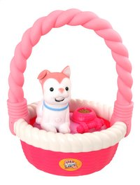 Little Live Pets Sweet Talkin' Puppy with basket roze-Vooraanzicht