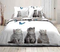Home lineN Dekbedovertrek Cats and Butterflies flanel