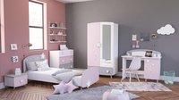 Chambre 3 éléments Stella lit + garde-robe 2 portes + bureau-Image 1