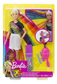 Barbie mannequinpop Regenboog glitterhaar-Vooraanzicht