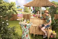 Housse stretch pour mange debout Tropical diameter 80 cm ananas et fleurs-Image 1