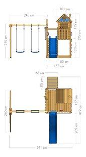 Wickey schommel Smart Lodge 120 met blauwe glijbaan-Artikeldetail