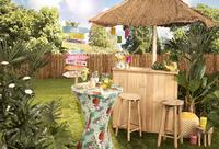 Housse stretch pour mange debout Tropical diameter 80 cm ananas et fleurs-Image 2