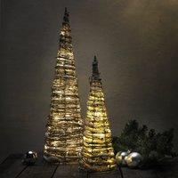 Decoratie met ledverlichting kegel wicker H 40 cm-Afbeelding 1