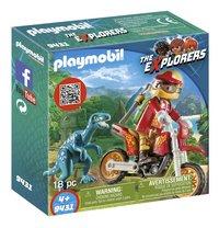 PLAYMOBIL The Explorers 9431 Motorcrosser met raptor-Linkerzijde