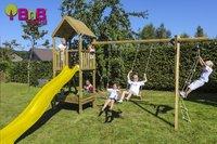 BnB Wood schommel met speeltoren en kweektafel Nieuwpoort met gele glijbaan