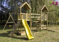BnB Wood schommel Nieuwpoort Duo Adventure met gele glijbaan-Afbeelding 1