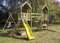 BnB Wood schommel Nieuwpoort Duo Adventure met gele glijbaan-Afbeelding 2