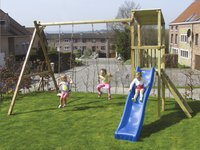 BnB Wood schommel met speeltoren Diest met blauwe glijbaan-Afbeelding 2