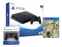 PS4 Slim console 1 TB zwart + FIFA 17 + 1 DualShock 4-controller