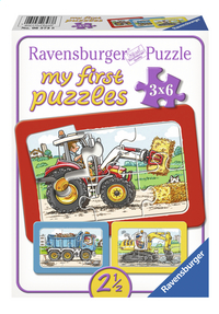 Ravensburger Puzzel 3-in-1 My First Graafmachine, tractor en kiepauto