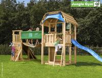 Houten speeltoren Barn met brug en blauwe glijbaan-Afbeelding 1
