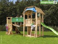 Tour de jeu en bois Barn avec pont et toboggan vert
