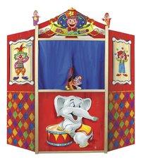 Théâtre de marionnettes en bois avec 2 marionnettes à doigts