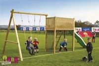 BnB Wood portique avec tour de jeu Goal et toboggan vert pomme-Image 2