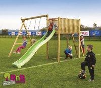 BnB Wood schommel met speeltoren Goal met appelgroene glijbaan