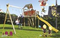 BnB Wood portique avec tour de jeu Fireman et toboggan jaune-Image 2