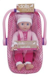 Dolls World zachte pop Isabella met draagstoeltje-Vooraanzicht