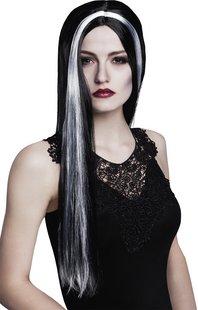 Pruik heks zwart met witte mèche-Vooraanzicht