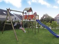 BnB Wood portique avec tour de jeu Fireman et toboggan bleu-Image 1