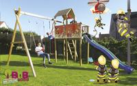 BnB Wood portique avec tour de jeu Fireman et toboggan bleu-Image 2