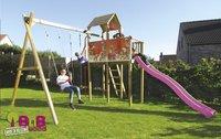 BnB Wood schommel met speeltoren Fireman met paarse glijbaan-Afbeelding 3