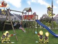 BnB Wood schommel met speeltoren Fireman met blauwe glijbaan-Afbeelding 4