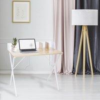 Bureau Basic blanc et bois-Image 1