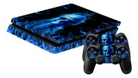 PS4 Slim console skin + 2 controllers skins Fire Skull-Vooraanzicht