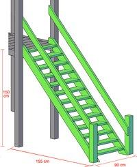 BnB Wood escalier avec rampes pour Nieuwpoort/Goal/Fireman-Détail de l'article