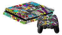 PS4 Slim console skin + 2 controllers skins Madness-Vooraanzicht