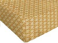 Origin Drap-housse pour lit Santorin blanc/ocre bambou/coton