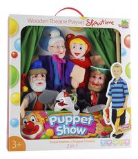 Théâtre de marionnette en bois avec 5 marionnettes-Avant