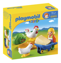 Playmobil 1.2.3 6965 Agricultrice avec brouette et coq
